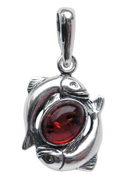 Sternzeichen Anhänger Fische Silber mit Bernstein